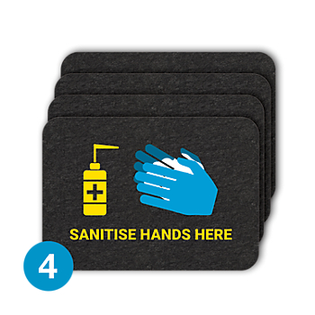 PIG® Grippy® Sanitise Hands Here Floor Sign – Box of 4