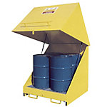 Steel 4-Drum Storage Unit With Lift-Up Lid