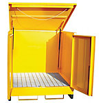 Steel 4-Drum Storage Unit With Lift-Up Lid & 2 Lockable Doors