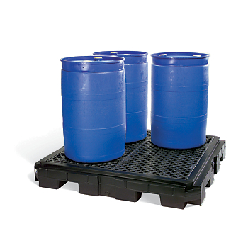 PIG® Heavy-Duty 4-Drum Poly Spill Containment Pallet