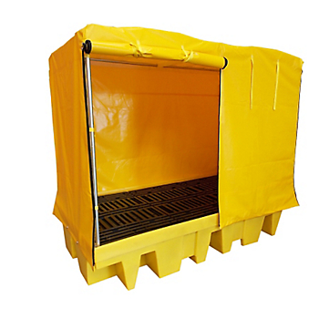 PIG® Essentials 8-Drum / 2-IBC Covered Containment Pallet