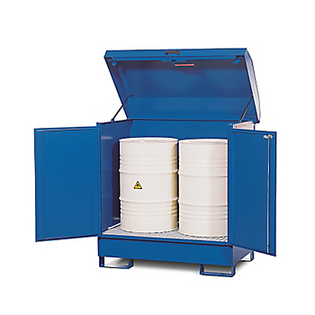 Bunded 2-Drum Steel Cabinet with Lift-Up Lid