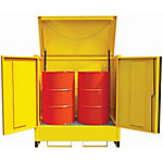 Steel 2-Drum Storage Unit With Lift-Up Lid & 2 Lockable Doors